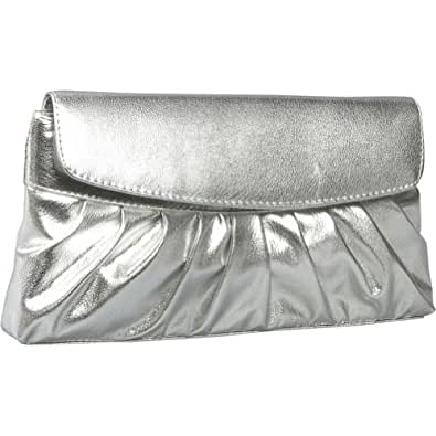 Coloriffics Handbags Pleated Smooth Metallic Evening Bag - Silver