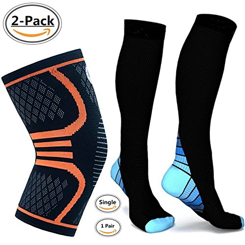 fan products of Alipapa Compression Socks And Knee Compression Sleeve Support for Men & Women,Running, Jogging, Sports, Joint Pain Relief, Arthritis and Injury Recovery,Boost Stamina, Circulation, & Recovery 2 Pack.