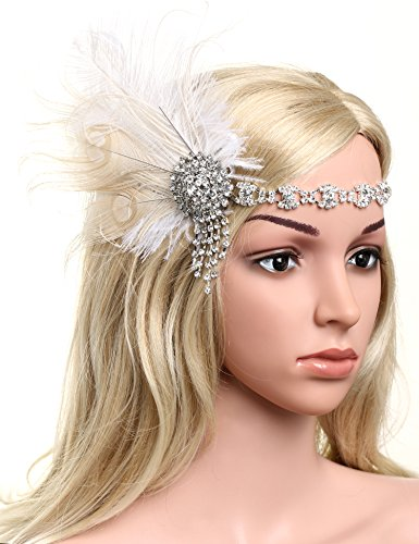 BABEYOND Womens Peacock Headband Womens Crystal Headband for Bride Feather Headband Flapper Headbands 1920s, White, One size