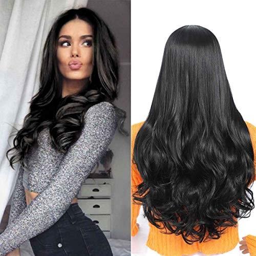 TIANTAI Long Wavy Black Wig for Women Middle Part Wig Long Curly Wave Wig Heat Resistant Synthetic Full Wig 26 Inch