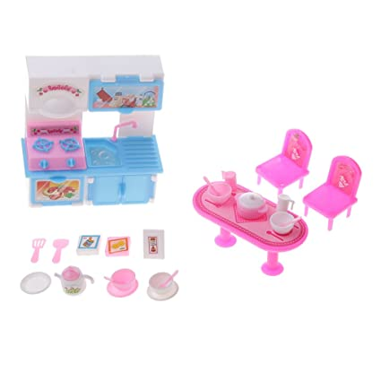Amazon Com Magideal Dollhouse Miniature Kitchen Furniture Set
