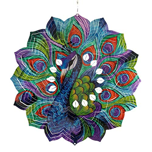 Exhart 3D Peacock Wind Spinner – Laser Cut Metal Mandala Art Hanging Décor w/White Accent Beads –Metal Peacock Hanging Wind Spinner, 3D Metal Art, Indoor/Outdoor Decor, 12 Inches