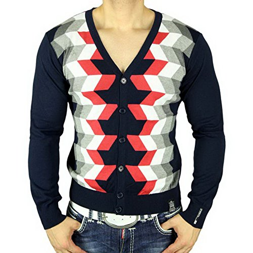 R-Neal RN-6800 Herren Pullover V-Neck Strickjacke Pulli Sweatshirt Jacke Hoodie, Größe:XL, Farbe:Blau