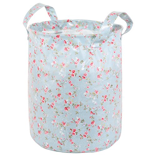 Neoviva Waterproof Cylinder Storage Bin with Handles, Set of 2, Floral Blue Ocean - Cylinder Storage Bin