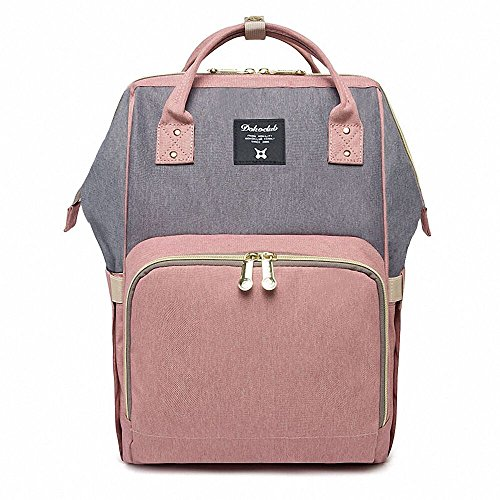 Abear Diaper Bag Backpack Waterproof Large Capacity Insulation Travel Back Pack Nappy Bags Organizer, Multi-Function, Fashion and Durable (Pink-Gray) (Baby Bag Stroller Diaper)