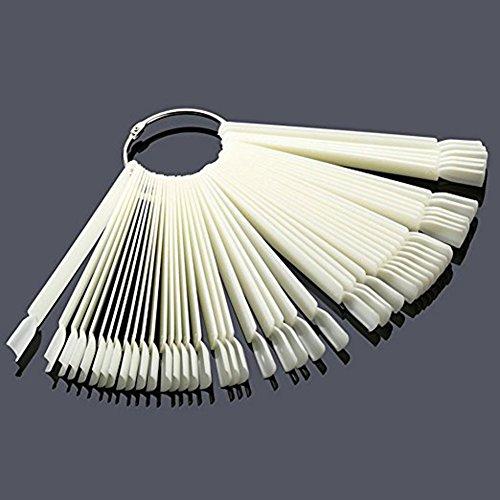 QIMYAR 200pcs/Set DIY False Nude Nail Art Fan Wheel Polish Practice Tips Sticks Display Tools