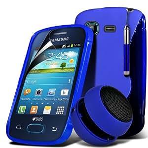 S5310 Wave Gel S Line Samsung Galaxy Pocket Neo caso de la piel cubierta + Mini recargable altavoz de la cápsula + Mini Retractable Stylus Pen + LCD Protector de pantalla (azul) Por Spyrox