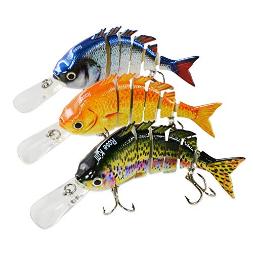 (ROSE KULI Fishing Lures for Bass Multi Jointed Lifelike Crankbait 3 Pack Fishing Tackle Kits)