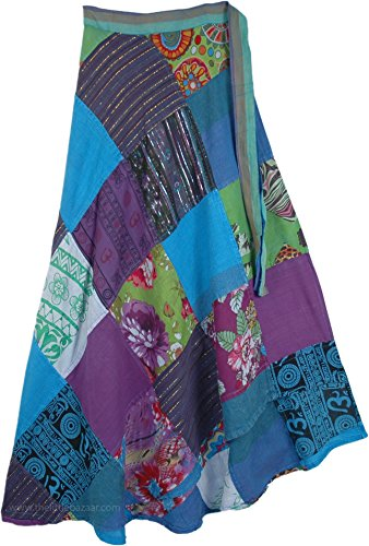 TLB - Gypsy River Run Blue Patchwork Cotton Wrap Skirt - L:39