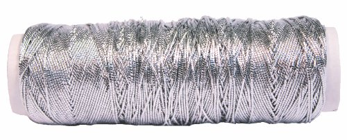 Creative Hobbies Thin Metallic Elastic Beading, Jewelry, Tinsel Cord, 50 Yard Roll - Silver ()