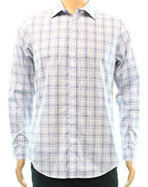 Calvin Klein Plaid Mens Small Button Down Cotton Blue S