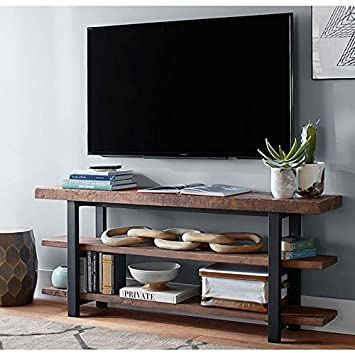 WGX 47u0026quot; Wood TV Stand Storage Console,Modern Industrial Brown Rustic  Wood And Metal