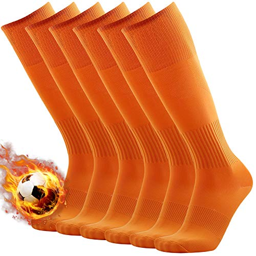 Adult Football Socks, 3street Mens Over Knee Length Arch Support Compression Sport Soccer Tube Socks Orange 6 -