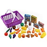 Click N' Play CNP50111 33-Piece Kids Pretend Play Grocery Shopping Play Toy Food Set, Fruit and Vegetable with Shopping Basket