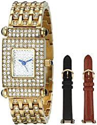Peugeot Womens 691G Crystal-Accented Gold-Tone Watch with Two Interchangeable Leather Bands