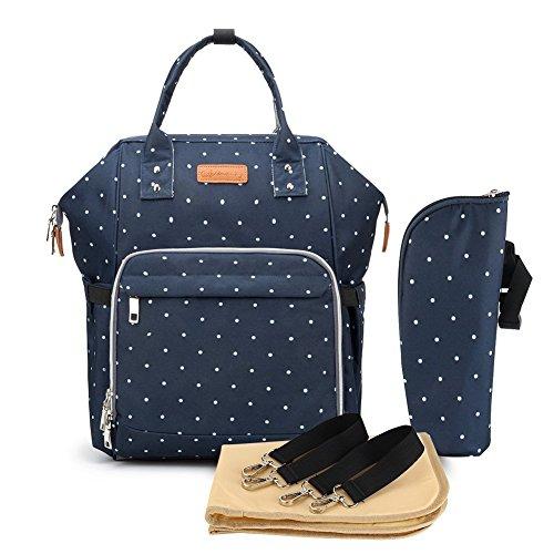 Multifuncion panal bolsa de panales cambiador de viaje, gran capacidad mochila bolsa reutilizable, ligero elegante Durable Mochila con bolsillo botella aislante para mama y papa (Bodian Azul)