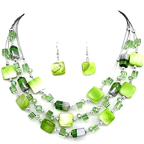 Shell Green Womens (Urban Chic Mixed Green Shell Wire Multi-Strand Necklace Earrings Set Uniklook jewelry)