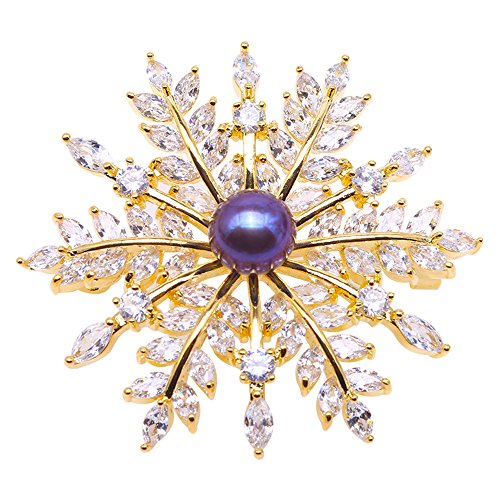 (JYX Pearl Brooch Snow-flake 9mm Dyed-purple Freshwater Cultured Pearl Brooch Pin for Women Anniversary Birthday Mother's Gifts)