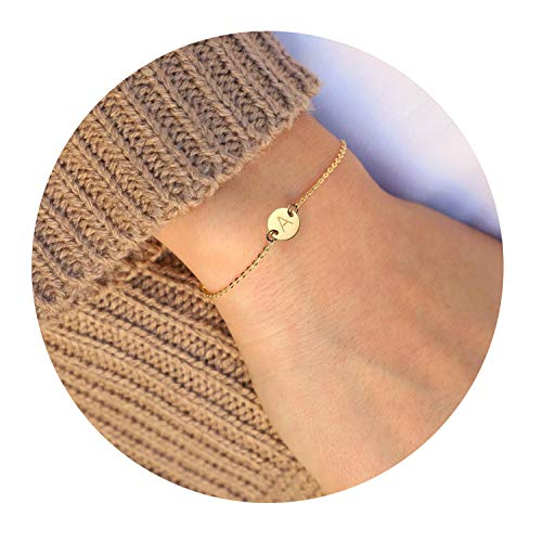(MOMOL Initial Charm Bracelets, 18K Gold Plated Stainless Steel Dainty Small Round Coin Disc Initial Bracelet Engraved Letters Personalized Name Bracelet for Girls)