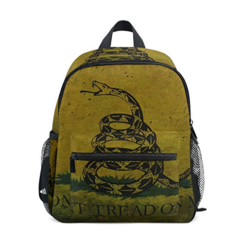 Rebel Flag Hat Pin - Age 3-8 Dont Tread Me Gadsden State Flag Toddler Preschool Backpack, Children Kids Daycare Rucksack Hiking Bags