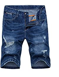 Men s Denim Shorts Jeans Pants 5 Pocket Casual Ripped Distressed Slim Fit  for Men 441f43b9f57bf