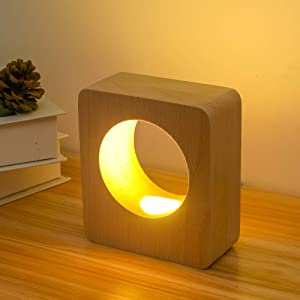 LONRISWAY LED Wood Table Lamp, Bedroom Bedside Night Light, Dimmable Led Lighting, Creative Home Decor Table lamp, Unique House Natural Beech warmging Gift