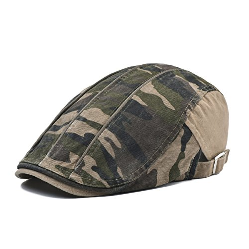 VOBOOM Men's Washed Cotton Driving IVY Hat newsboy Flat Cap Camouflage Pattern (Khaki)