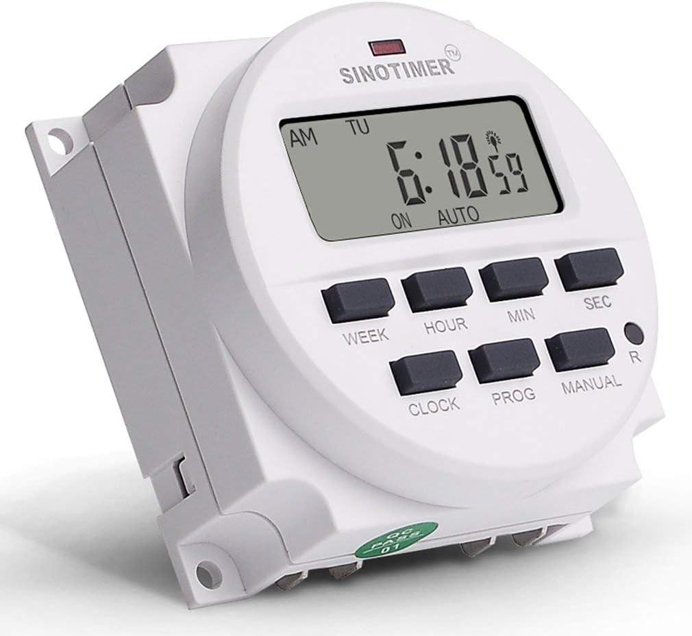 Leoboone SINOTIMER 12V Semanal 7 d/ías Interruptor de tiempo programable digital Control del temporizador de rel/é para aparatos el/éctricos Configuraci/ón de encendido//apagado 8