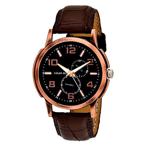 Golden Bell Original Black Dial Wrist Watch, Wallet and Reverseble Belt Combo for Men