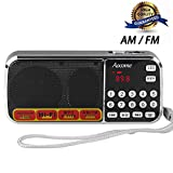 portable speakers radio - Aocome Portable Mini AM FM Radio Clear Speaker Music Player, Micro SD/TF Card Slot, USB Charging Cord, Rechargeable Li-ion battery, Earphone Jack (BM8 Black)