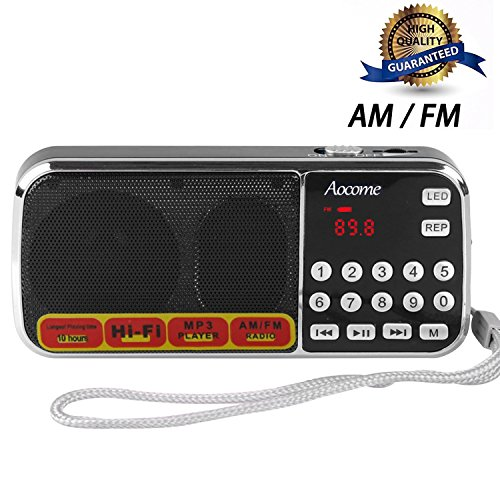 Aocome Portable Mini AM FM Radio Clear Speaker Music Player, Micro SD/TF Card Slot, USB Charging Cord, Rechargeable Li-ion battery, Earphone Jack (BM8 Black)