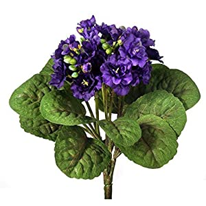 """Silk African Violet Plant in Purple - 12"""" Tall 18"""