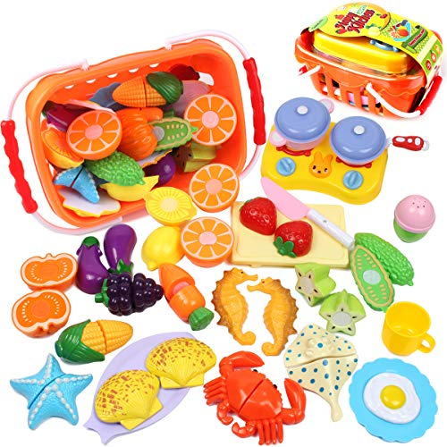 GobiDex Kids Play Food Set Pretend Food, 26Pcs Plastic Fruits Vegetables Seahorse Starfish Kitchen Toy- Pretend Play Food Playset Early Education Toy Kitchen Accessories for Toddlers Age 3 Year and Up -