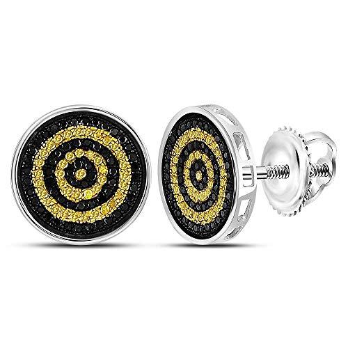 (Yellow Diamond Mens Circle Stud Earrings 1/2ct 925 Sterling Silver)