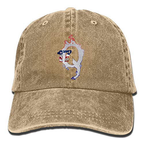 LETI LISW QAnon American FlagFashionDenim Cap Adult Unisex Adjustable Cap by LETI LISW