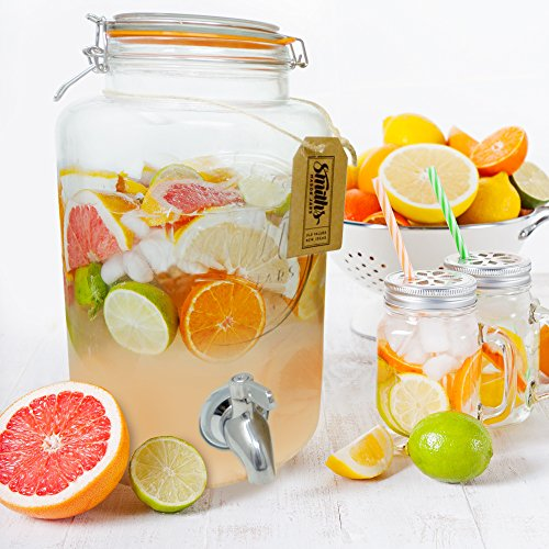5 Litre Drinks Dispenser with Steel Spigot, wire mesh (to stop blockages) and gift tag, it's the Ultimate Drinks cooler - By Smith's Mason Jars by Smith's Mason Jars (Image #5)