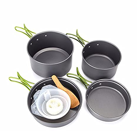 53e00044d130 Amazon.com : Camping Cookware Mess Kit Backpacking Gear 10Pcs ...