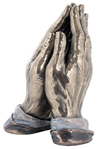 7.75 Inch Praying Hands Cold Cast Bronze Material Figurine Praying Hands Sculpture