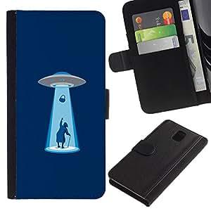 KLONGSHOP // Tirón de la caja Cartera de cuero con ranuras para tarjetas - Alien Abduction divertido - Samsung Galaxy Note 3 III //