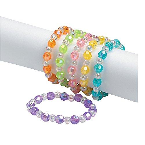 Assorted Plastic Iridescent Bead Bracelets