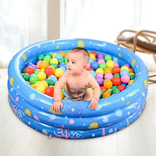 Moonvvin 3 Layer Inflatable Round Swimming Pool Ball Pit Safe PVC For 1-2 year old Babies toddlers Outdoor Garden Parties (Blue)