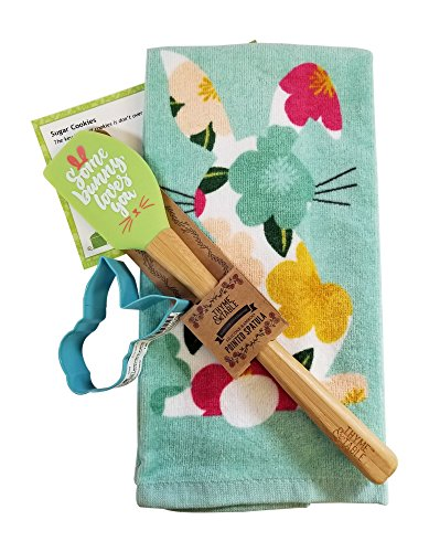 Easter Bunny 4 piece Kitchen Towel with a Bunny Cookie Cutter Easter Spatula and Recipe Card (Recipe Towel)