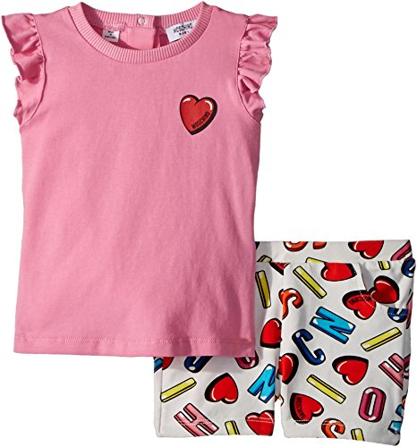 Moschino Kids Baby Girl's Logo Heart Graphic T-Shirt & Shorts Set (Infant/Toddler) Multi 12-18 by Moschino Kids
