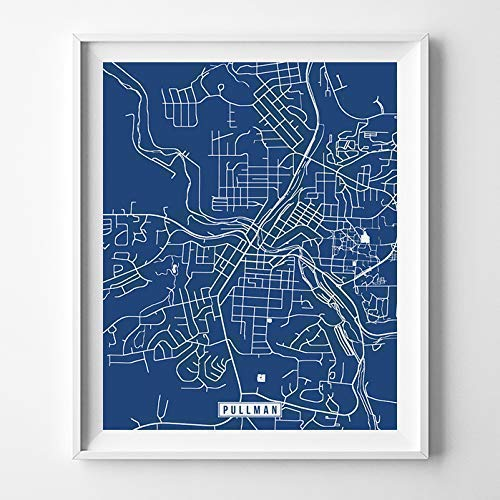 Pullman Washington City Street Map Wall Art Home Decor Poster Urban City Hometown Road Print - 70 Color Choices - Unframed