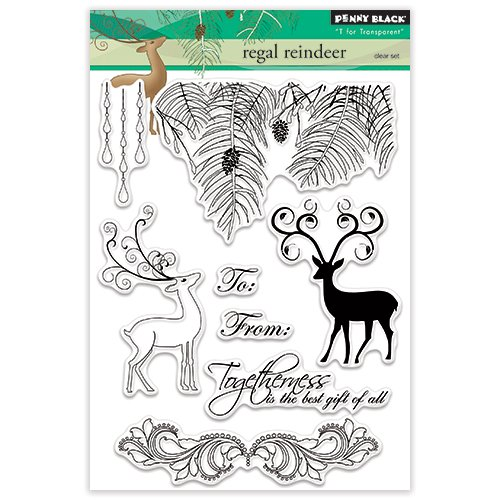 Penny Black 30-312 Regal Reindeer Stamps, 5 by 7, Clear 5 by 7