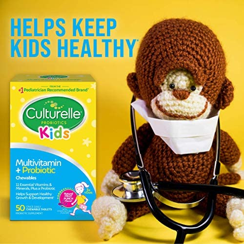 51fVweIX4nL. AC - Culturelle Kids Complete Multivitamin + Probiotic Chewable - Digestive & Immune Support For Kids - With Vitamin C, D3 And Zinc - 50 Count