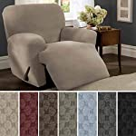 MAYTEX Pixel Ultra Soft Stretch 4 Piece Recliner Arm Chair Furniture Cover Slipcover with Side Pocket