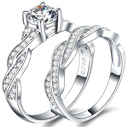 925 Sterling Silver Ring Set Wedding Engagement Propose Anniversary (5) by WFF