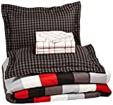 7-Piece Bed-In-A-Bag Comforter Bedding Set - Full or Queen, Red Simple Stripe, Microfiber, Ultra-Soft