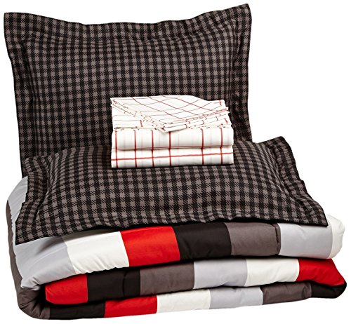 AmazonBasics 7-Piece Bed-In-A-Bag, Full/Queen,  Red Simple (Red Stripe Pillowcase Set)